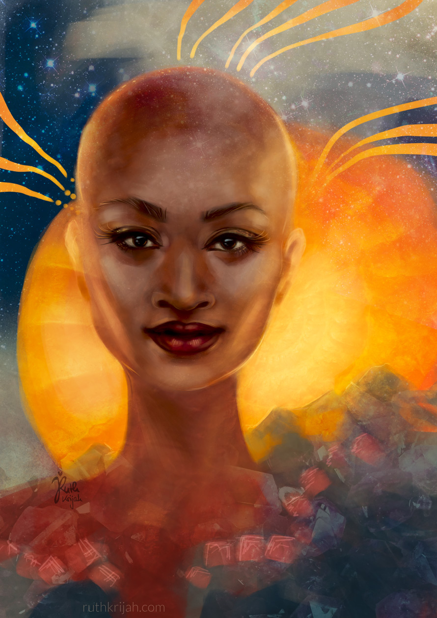 Inner Warrioress. Your Strength. Digital Painting by Ruth Krijah