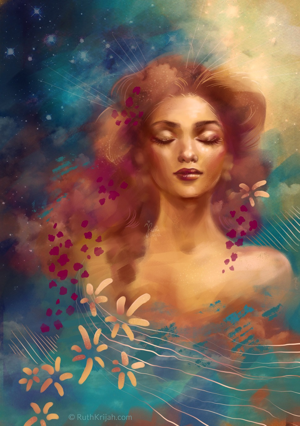 Gazing into Soul. Digital Painting by Ruth Krijah