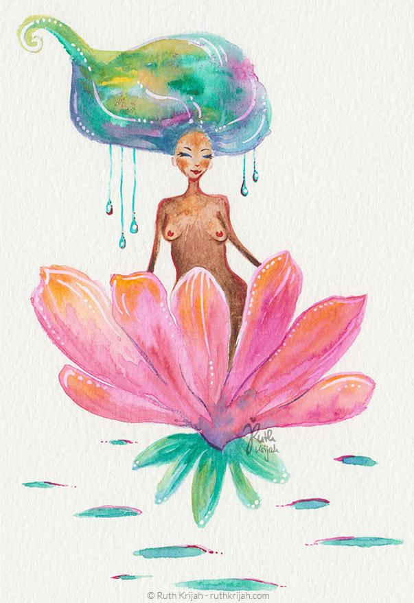 Illustration Ruth Krijah - wild women - wilde Frau - Lotusblüte - wachsen - blühen