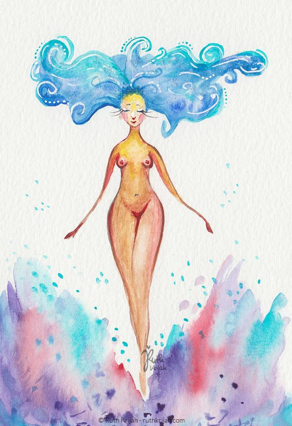 Illustration Ruth Krijah - wild women - wilde Frau - Luft - Wolken - Universum