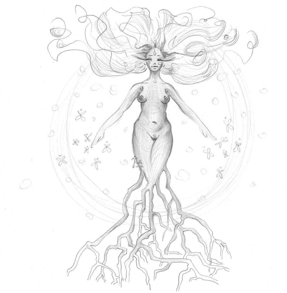 Daughter of Earth. Fully blossoming. Drawing by Ruth Krijah