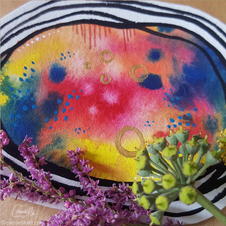Youniverse, Ruth Krijah, kleine Kunstwerke, Aquarell auf Karton mit Glitzer