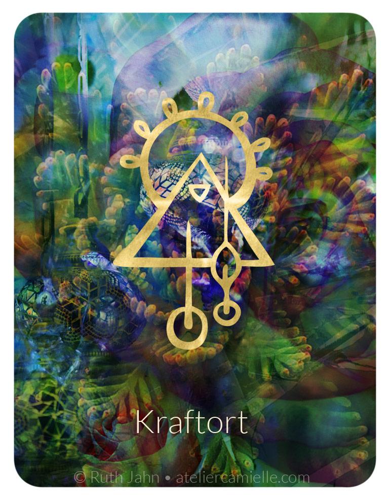 """Soul Code Orakelkarte, """"Kraftort"""", Tempel, Oase, Ruth Jahn, Atelier C'amiëlle, 2020"""
