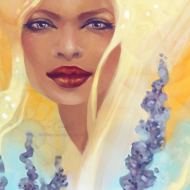 Blühendes Selbst Portrait - Lavendel und Sommersonne, von Ruth Jahn / Camielle , digital, 2020